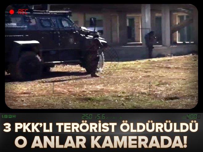 3 PKK'lı öldürüldü! Çatışma anları kamerada!