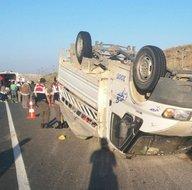 Tarım işçilerini taşıyan kamyonet devrildi! Çok sayıda yaralı var