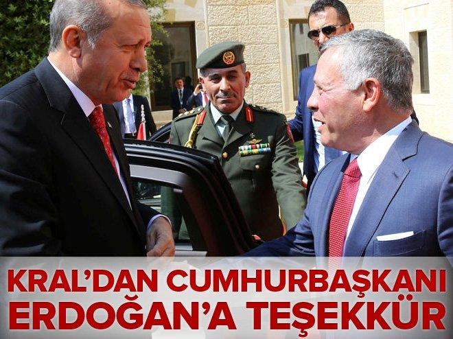 Ürdün Kralı'ndan Cumhurbaşkanı Erdoğan'a teşekkür