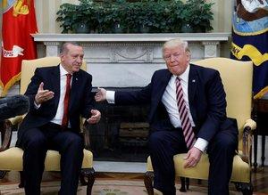 Cumhurbaşkanı Erdoğan ve Donald Trump görüşmesinden kareler