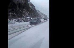 Rize'nin yüksek kesiminde kar yağışı