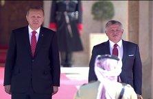 Erdoğan, Kral Abdullah tarafından törenle karşılandı